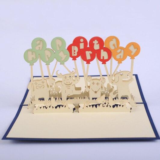 Animals Balloon Birthday Card 3D Kirigami Pop Up Kids Gift Cards Invitation Customize Free Shipping
