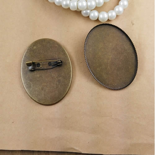 Fit 30x40mm Vintage Oval Blank Copper Tray With Iron Pin Setting Bezel Blank Base Cabochon Brooch Tray 5pcs/lot  K05266