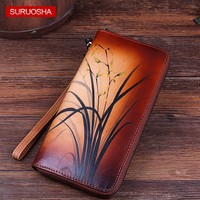 Elegance Vintage High Quality Long Wallets Women Purses Coin Purse Cards Holder Floral Pattern Female Genuine Leather Wallet