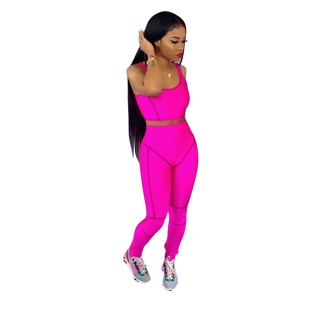 Casual Fluorescent Color Solid Tracksuit Women Sexy Tank Crop Top With Long Pants Two Piece Set Bodycon Trim Sports Women Sets