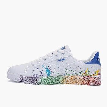 Women Flat Sneakers Lace up Colorful Graffiti Platform Female PU Flats Fashion Ladies Walking Vulcanized Shoes 2021 Spring New 9