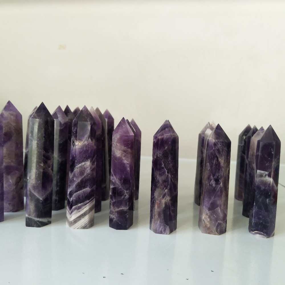 1kg lot 90mm 100mm Natural amethyst crystal point feng shui chakra transparent quartz crystal wand and