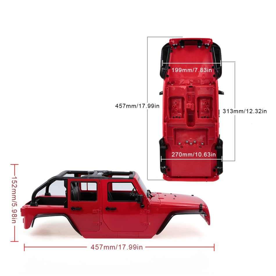 Hard Plastic 313mm RC Auto Body Shell voor Wielbasis 1/10 Axiale SCX10 SCX10 II Chassis RC Jeep Truck Auto DIY