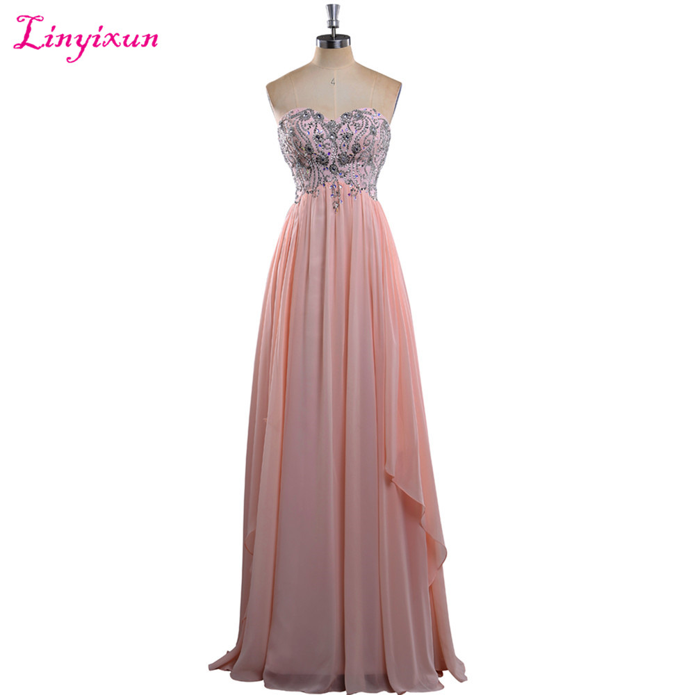 Linyixun Real Photo Long   Prom     Dresses   2017 Bedaed Pink Chiffon Sleeveless Sweetheart Evening Party Gown Sexy Robe de soiree