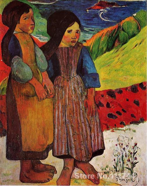 Moderne Art Pour Chambre Breton Filles Par La Mer Paul Gauguin