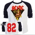 Banda de Rock AC / DC 82 TOUR de beisebol homens 100% algodão T Top de manga raglan casuais Euro tamanho S-3XL