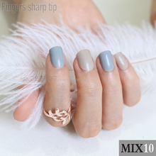 48pcs new Fashion Ink blue Brown Fake Nail Short Design Artificial Nail Manicure DIY mix and match MIX10