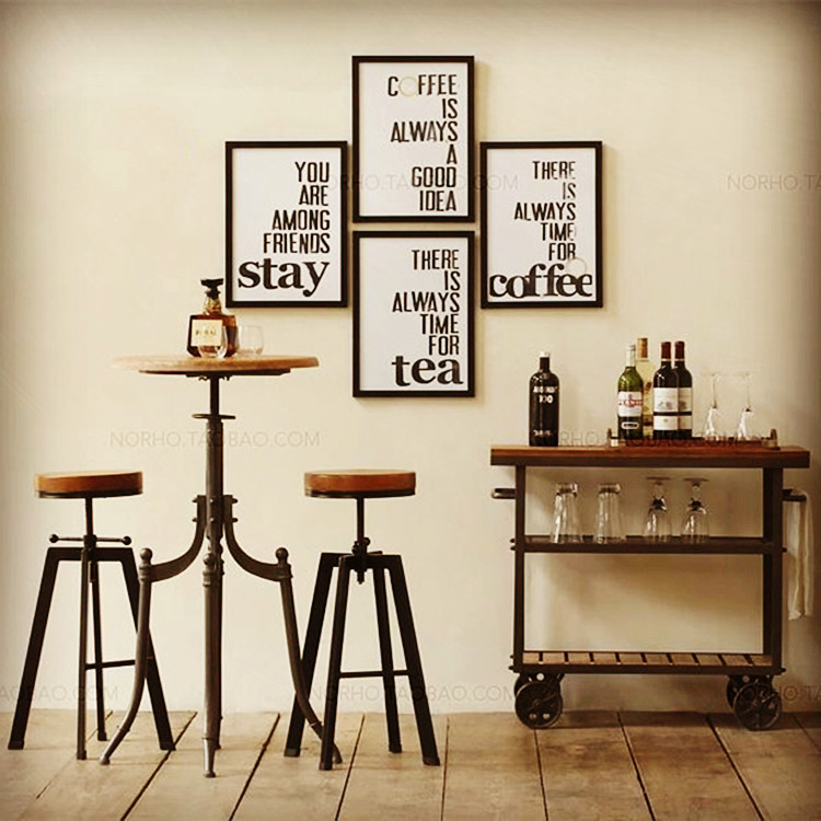 Cheap Imitation Wrought Iron Bar Chairs Suite Furniture Retro Wood To Do  The Old Rotary Tables ...