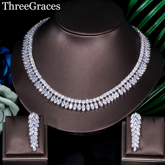ThreeGraces Silver Color Long Leaf Cubic Zircon Cluster Necklace And Dangle Tassel Earrings Wedding Jewelry Sets For Women JS054