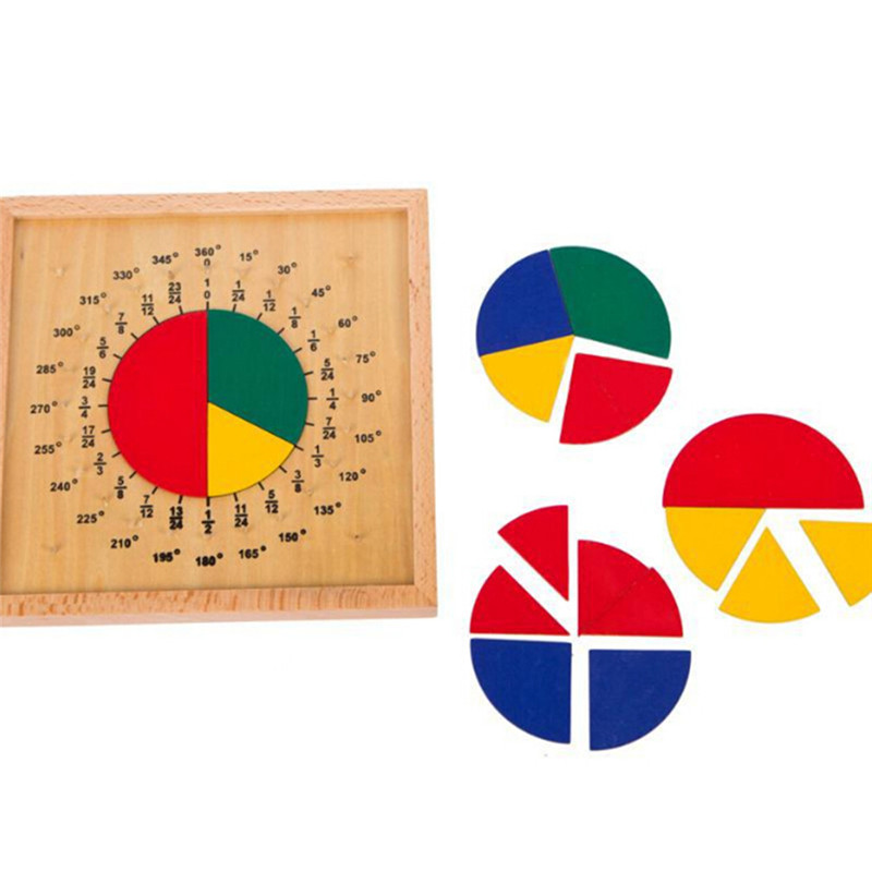 Baby Child Early Educational Toys Circular Mathematics Fraction Division Teaching Montessori Board Wooden Toys Gift Math Toy