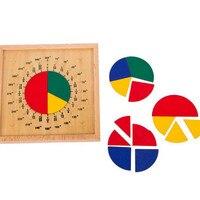 Детское раннее развитие детей развивающие игрушки круговая Математика фракция дивизия обучения Монтессори доска деревянные игрушки подар...