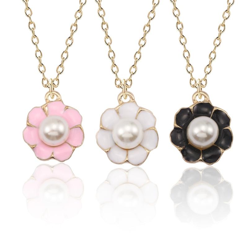 Cute Pearl Flower Neckalce For Women Kawaii Colorful Plant Pendant Girls Hip Hop White Black Rose Necklaces&Pendants
