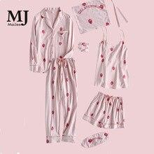 MaiJee 7 Pic Cotton Nuisette Femme Pijama Set Feminino Pyjama Pigiama Donna Pyjamas Women Pijamas Mujer Night Suit