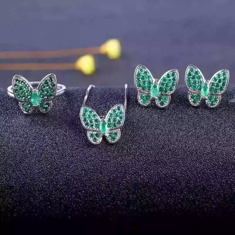 Natural green emerald gem jewelry sets natural gemstone ring Pendant Earrings 925 silver Elegant lovely heart butterfly jewelry natural green jasper jewelry sets natural gemstone ring earrings pendant 925 silver stylish elegant heart women party jewelry