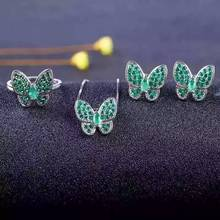 Natural green emerald gem jewelry sets natural gemstone ring Pendant Earrings 925 silver Elegant  lovely heart butterfly jewelry
