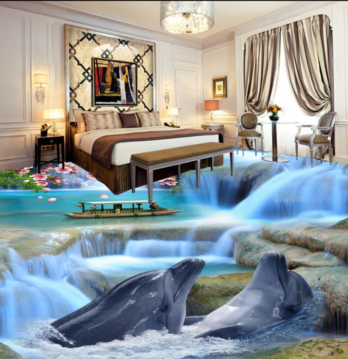 ФОТО 3D floor dolphin custom Beautiful 3d floor wallpaper non-slip waterproof self adhesive pvc floor