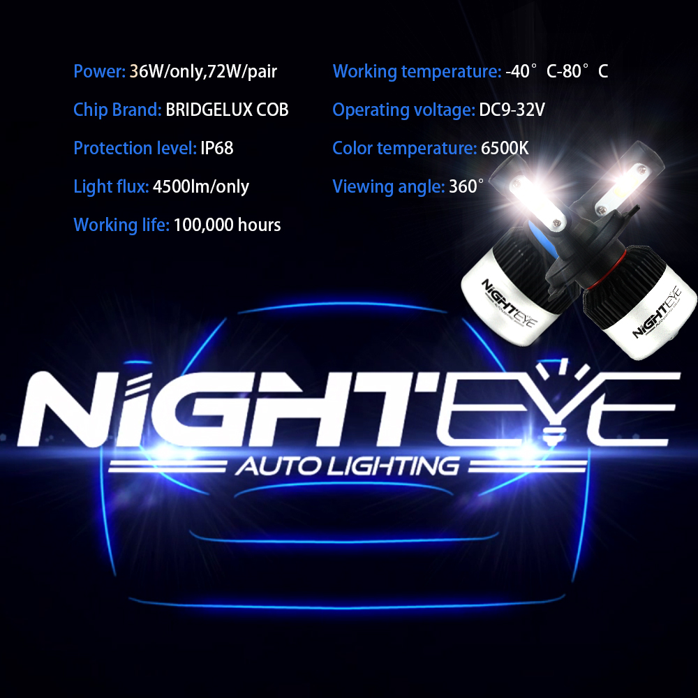 Image 5 - NIGHTEYE 2Pcs H4 LED H7 H11 H8  H9 9006 HB4 H1 9005 HB3 Car Headlight Bulbs LED Lamp with COB Chip 9000LM Auto Fog Lights 6500-in Car Headlight Bulbs(LED) from Automobiles & Motorcycles