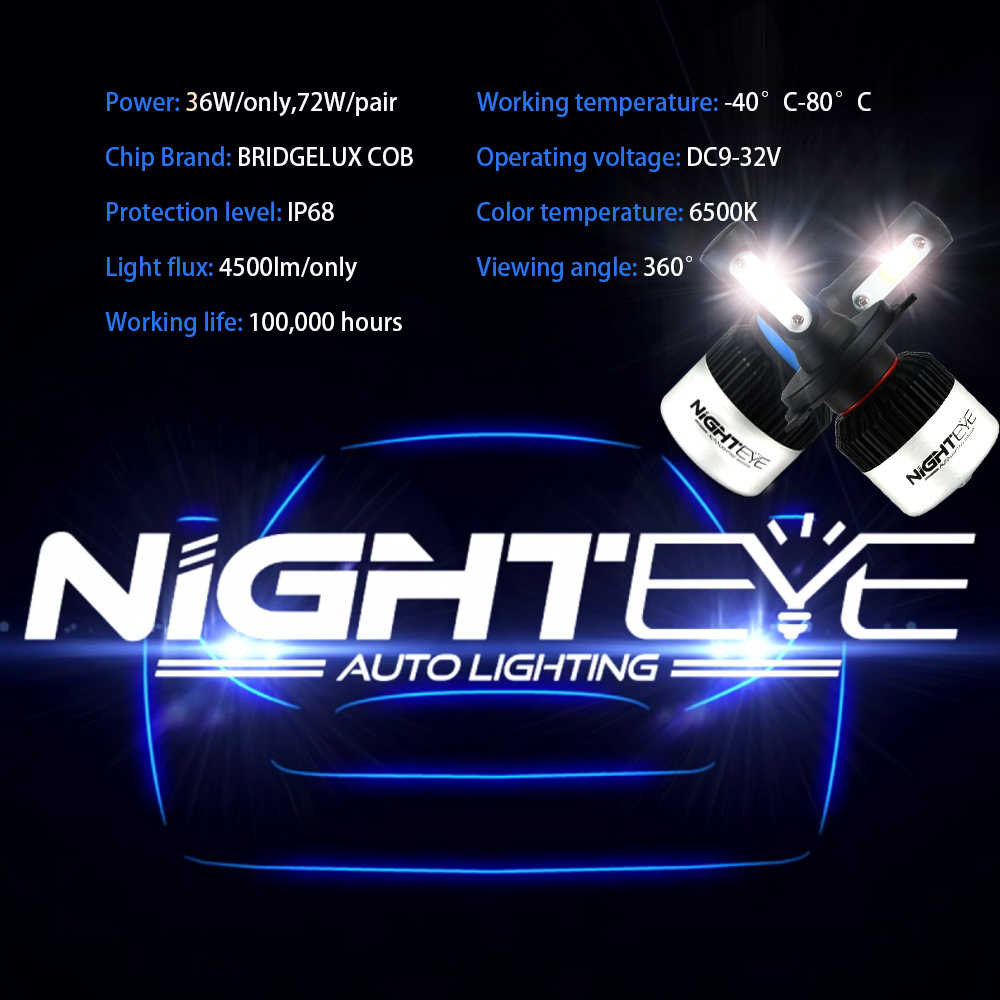 NIGHTEYE 2Pcs H4 LED H7 H11 H8  H9 9006 HB4 H1 9005 HB3 Car Headlight Bulbs LED Lamp with COB Chip 9000LM Auto Fog Lights 6500