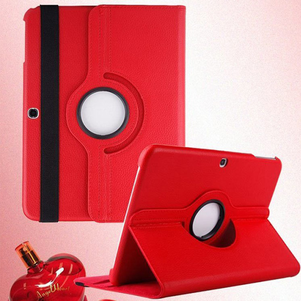 New design 360 Degree Rotation Litchi Pattern PU Leather Fold Case Stand Cover for   TAB4