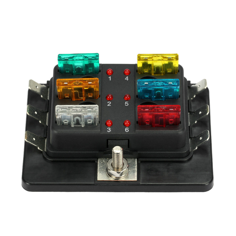 DC12V-24V 10 Way Blade Fuse Box Holder LED Warning Light Kit for Car Boat Marine