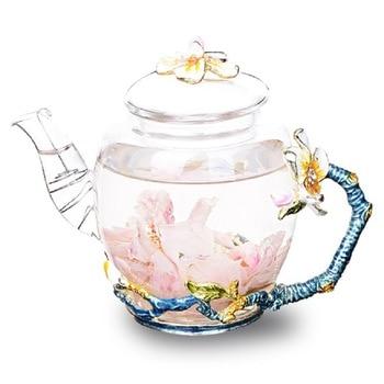 Creative hand painted enamel Kung Fu teapot home heat-resistant glass tea set high-grade tea flower kettle