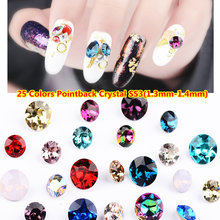 SS3 1.3mm-1.4mm 1 sac pour 1440 pcs/lot svarosvki kristal original AB Strass Point arrière Non Hotfix Nail Art Strass décorations(China)