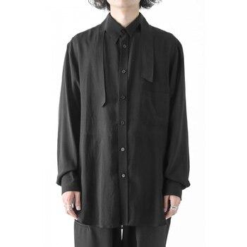 S-6XL!!Homemade men's shirt with ultra loose dark irregular collar casual shirt.