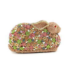 2016 Handmade Rhinestones Rabbit Women Luxury Handbags European Style Sparkle Crystal Day Clutch Evening Party Wedding Bags
