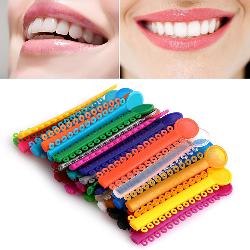 1Pack 40Pcs Dental Ligature Slips Orthodontics Elastic Multi Color Rubber Band For Helse Tenn Verktøy