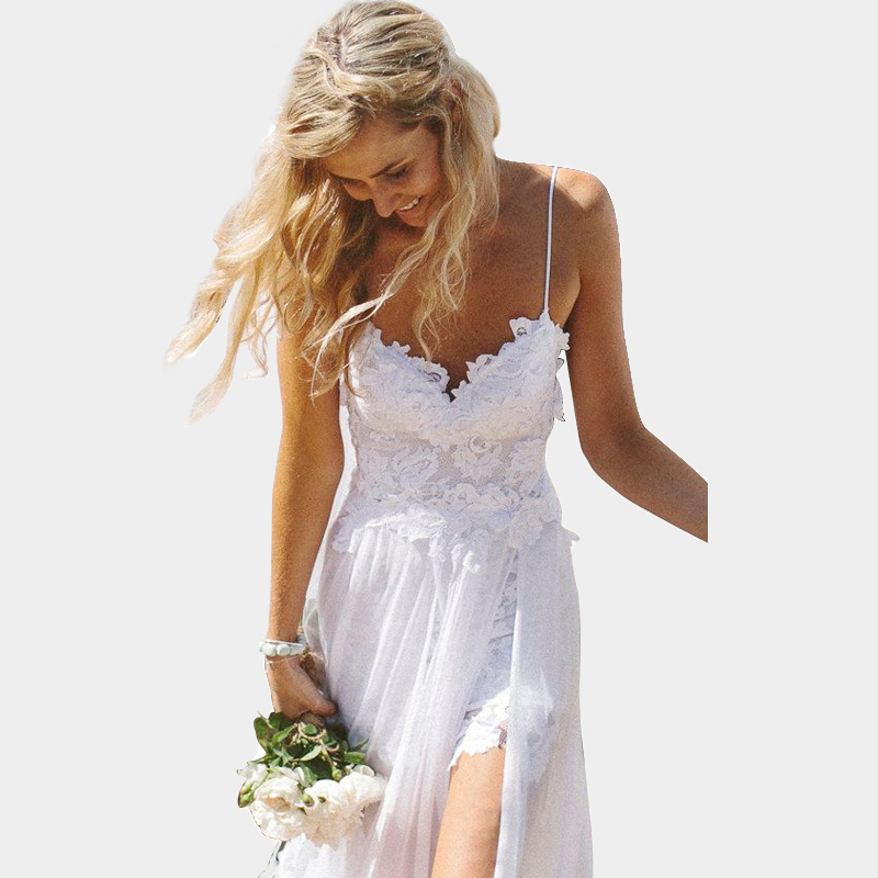 Hot sale sexy backless high slit bohemian beach wedding for Backless bohemian wedding dress