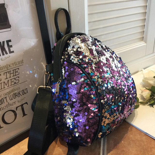 3e448f729e US $27.69 30% OFF|New Brand Sequined Backpacks Teenager Girls PU Bling  Backpack glitter Girls Travel Shoulder Bags School Bag sequin backpack  966-in ...