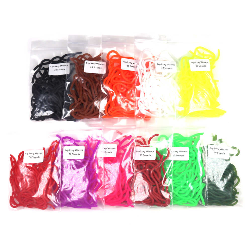10 UV Squirmy Worm Mixed Colours.