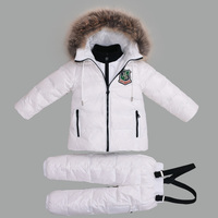 30 Degree Russian Warm Children Winter Suits Boys Girl Duck Down Jacket +Pants Clothing Sets Kids clothes Snow Wear Top Quality