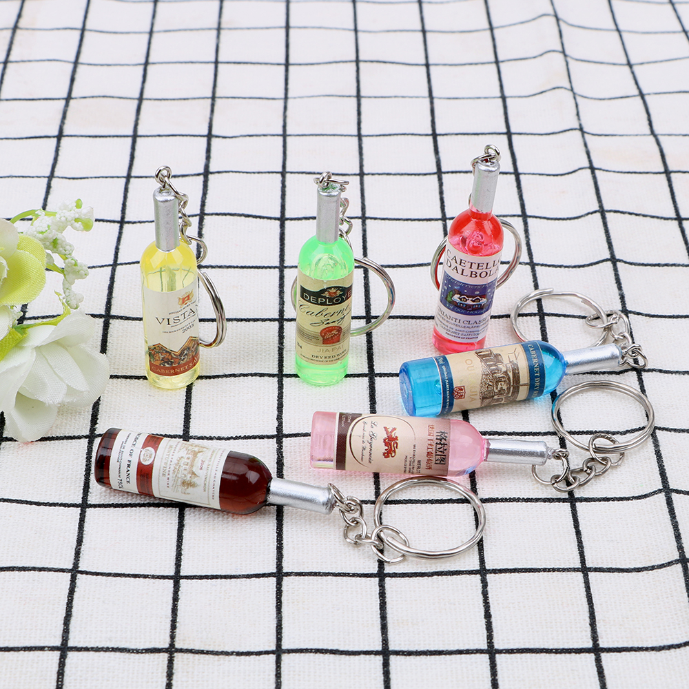 Fashion Car Key Rings Charms Gifts Auto Keychain Handmade Resin Keyring Wine Bottle Key Chains Car-styling For Women/Men