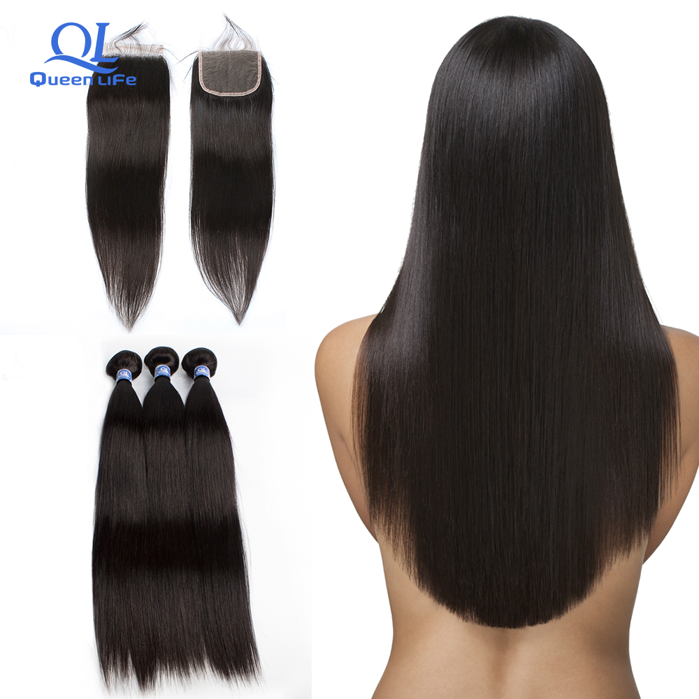 Queenlife Brazilian Straight Hair Bundles With Frontal Non Remy