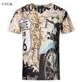Hot Sale 2016 Estilo Europeu Dos Homens de Manga Curta Camiseta Verão Fasion V Pescoço T Shirt Dos Homens de Alta Qualidade Slim Fit Mens Camiseta 5XL