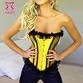 Gothique кружева и атласа Overbust росту сексуальный желтый топ бурлеск бюстье Corsets женщин Corpete E Corseletes Espartilhos