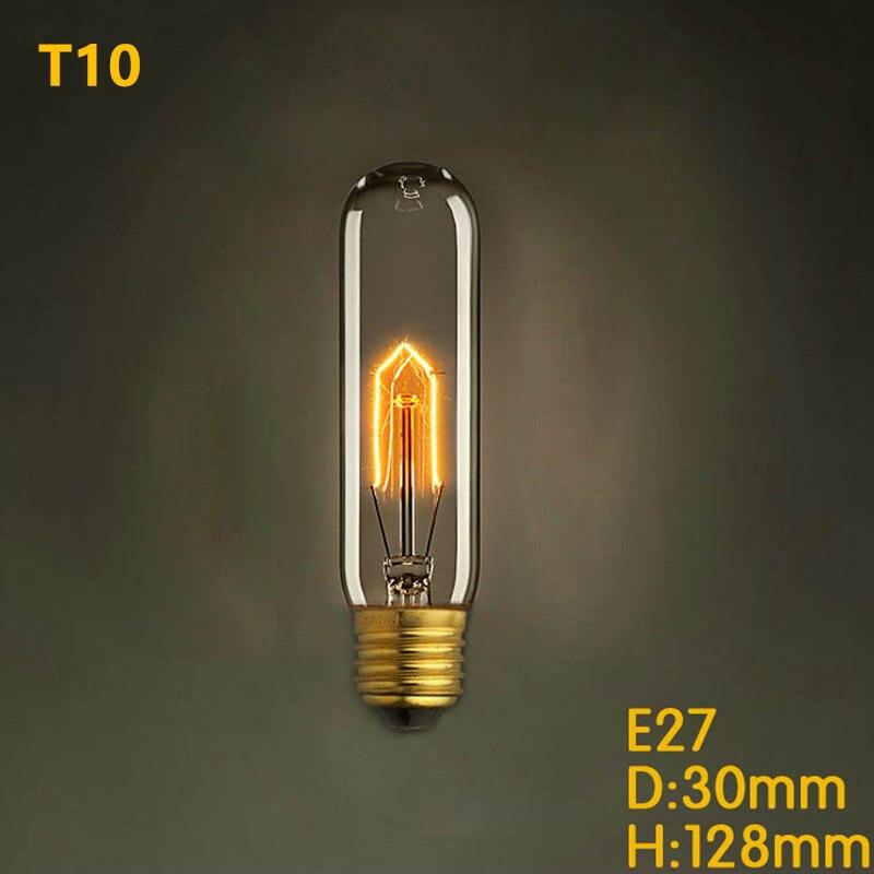 T10 Edison 220v 25w 40w 60w E27 Filament Light Bulbs Vintage Decor Industrial Style