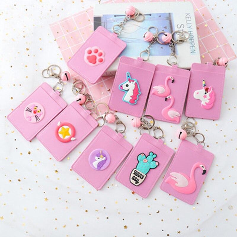 Cartoon  Unicorn Flamingo PU Leather Card ID Holders Bag Women Travel Bank Bus Credit Card Holder Keyring Key Wallet Chain Case