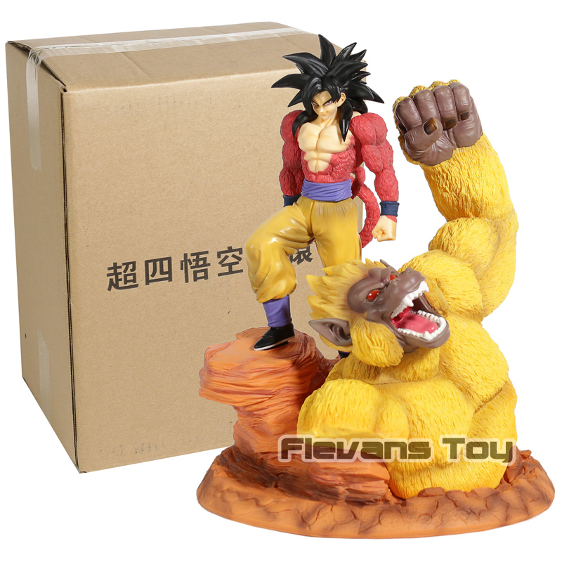 Dragon Ball Super Saiyan 4 Or Grands Singes Fils Goku Vegeta Fit Scène Statue PVC Action Figure Collection Modèle Jouet