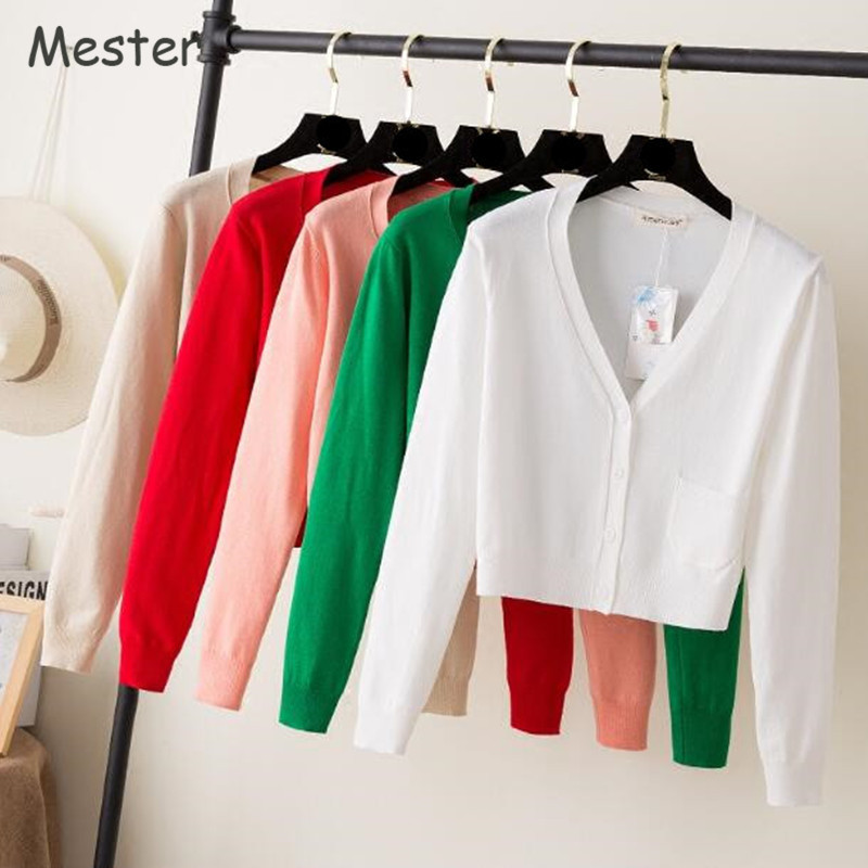 Ladies Short Cardigan V Neck Long Sleeve Cotton Cropped Cardigan Sweaters Thin Coat feminino Spring Knitwear Shrugs for Women