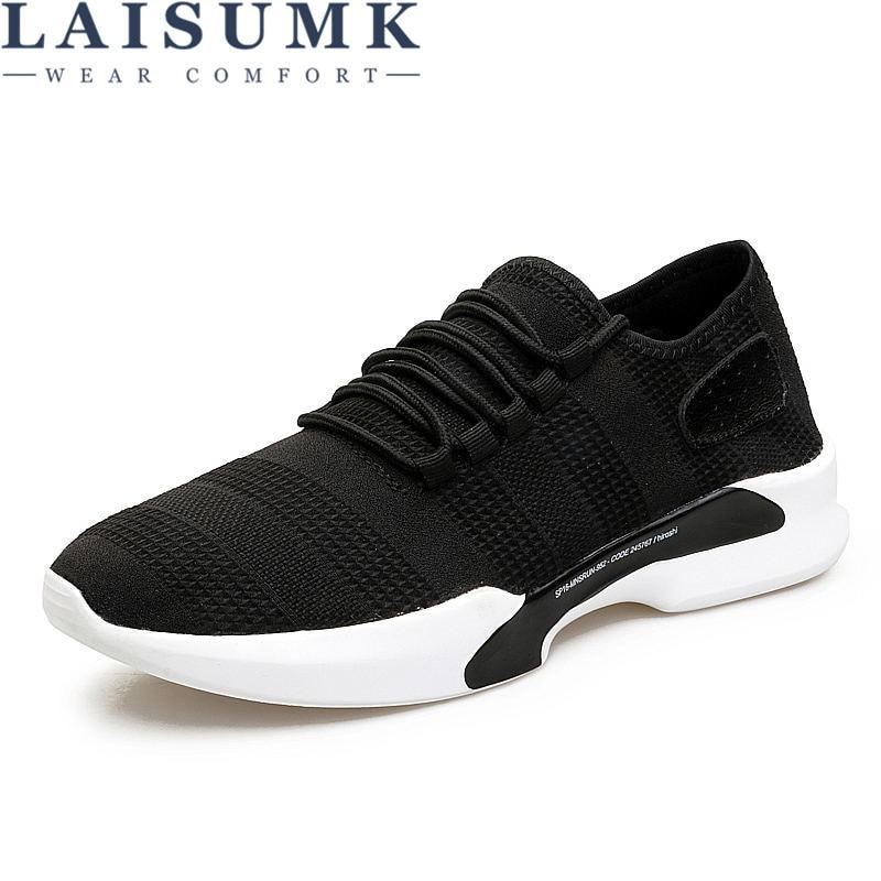 2018 LAISUMK Men Casual Sneakers Shoes Breathable Mesh Men Shoes Lightweight Men Flats Fly Weave Lace Up Brand Designer
