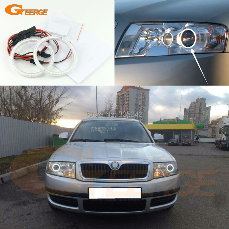 For skoda Superb 2001 2002 2003 2004 2005 2006 2007 Excellent Ultra bright illumination smd led Angel Eyes Halo Ring kit for alfa romeo 147 2000 2001 2002 2003 2004 halogen headlight excellent ultra bright illumination ccfl angel eyes kit halo ring