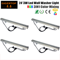 TIPTOP 4XLOT IP65 24x3W waterproof outdoor led bar Stage Led Wall Washer Aluminum Body Adjustable Mounting Clamps Rotating Foot