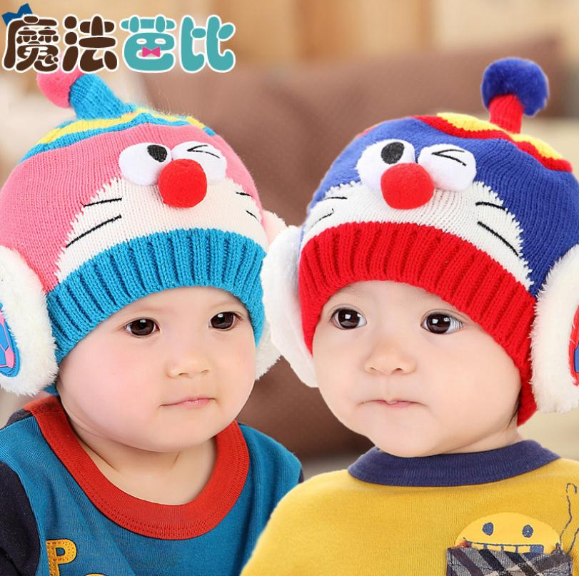 2015 Korean Robot Kitten Children knitted Hats baby girls Winter Hat Kids Earflap Cap age for 6 months-3 Years Old цена и фото