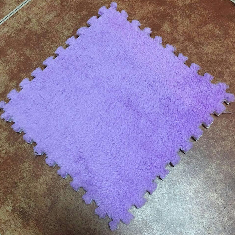 Ткань лохматый 30x30 см Коврик-головоломка пена бархатистый коврик EVA пена EVA домашняя пена коврик - Цвет: Purple