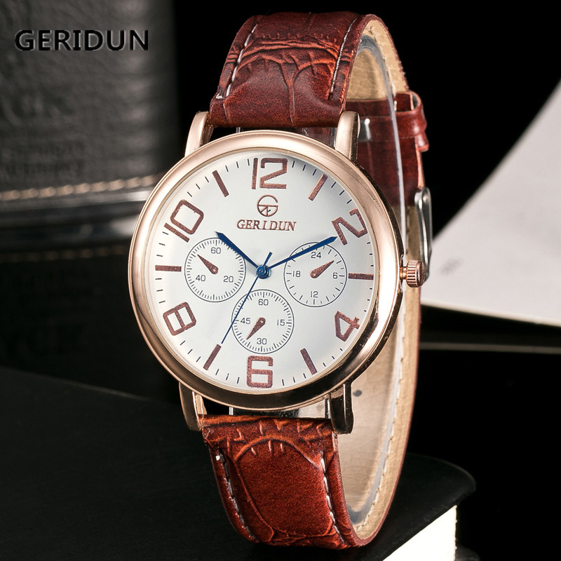GERIDUN Watch Menn Brand Luksus Berømte Armbåndsur Manneklokke - Herreklokker