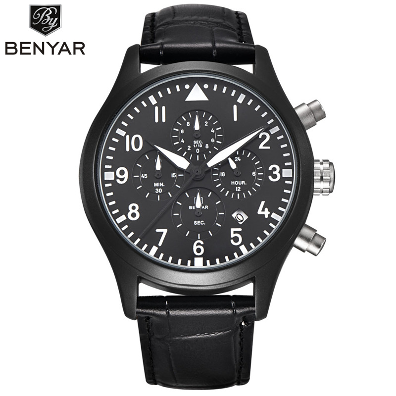 BENYAR Luxury Brand Analog Date Men's Quartz Watch Japan Movement Dive 30M Leather Fashion Casual Watch Cock Relogio Masculino 2pm junho japan solo album feel 5 postcards lyric booklet release date 2014 08 19 kpop