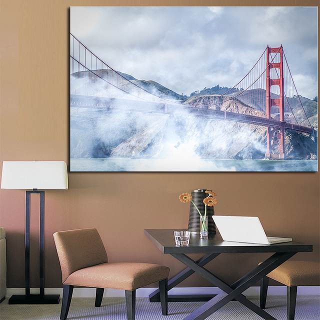 Wall Art Free Shipping Modern Home Decor San Francisco Golden Gate Usa Fog  Bridge Painting Drawing