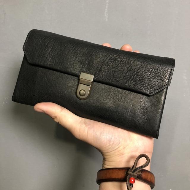 Lock Men Wallet Genuine Leather Handmade Large Capacity YKK Zipper Male Wallets Cowhide Men's Purse Phone Case For iPhone 6 Plus